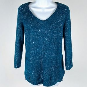 Chico's sparkling teal sweater. Size 1/small